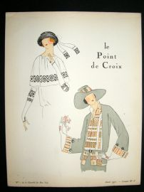 Gazette du Bon Ton Croquis 1922 Deco Pochoir. Le Point De Croix #5